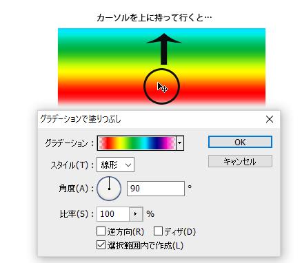 グラデーションの設定画面